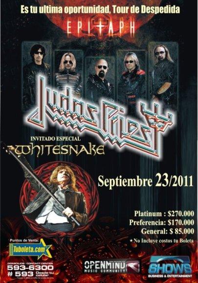 JUDAS PRIEST junto a WHITESNAKE en Colombia 2011 - EPITAPH World Tour, Sep 23 en el Coliseo El Campin de Bogota