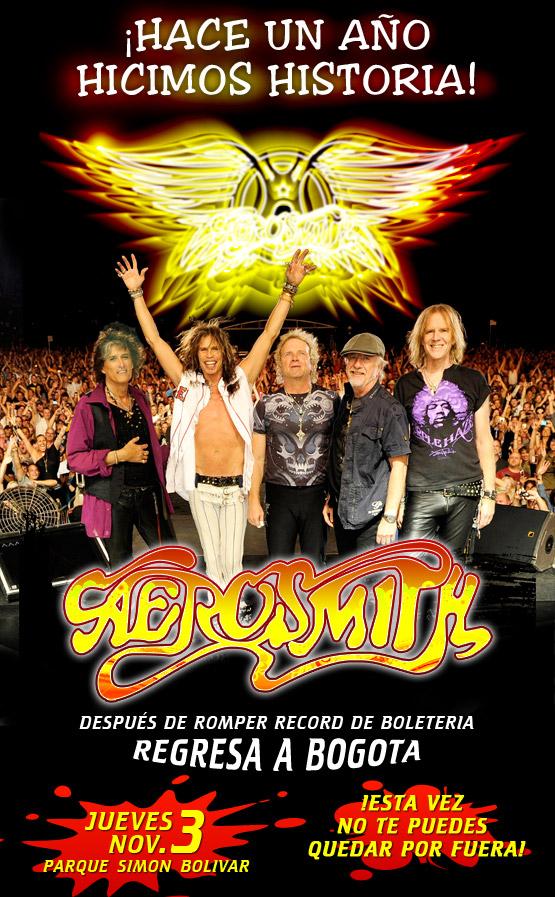 Confirmado AEROSMITH de regreso en Colombia 2011, Nov 3 en el Parque Simon Bolivar de Bogota