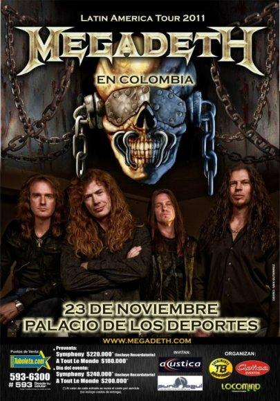 Megadeth en Colombia 2011, Nov 23 en el Palacio de los Deportes de Bogota