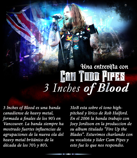 Exclusiva entrevista con Cam Pipes de 3 Inches of Blood