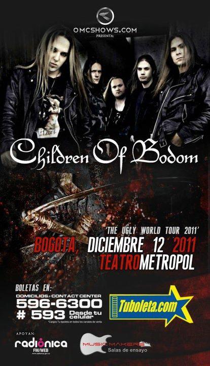 CHILDREN OF BODOM en Colombia 2011, Dic 12 en el Metropol de Bogota