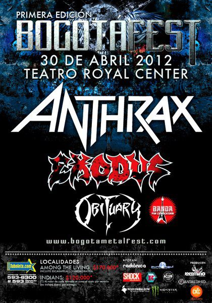 Anthrax + Exodus + Obituary en colombia 2012
