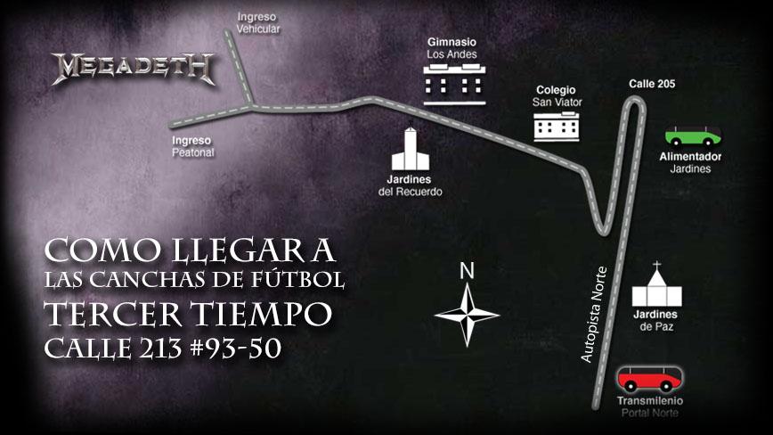 Mapa ruta como llegar a Las canchas de Fútbol Tercer Tiempo - Calle 213 #93-50