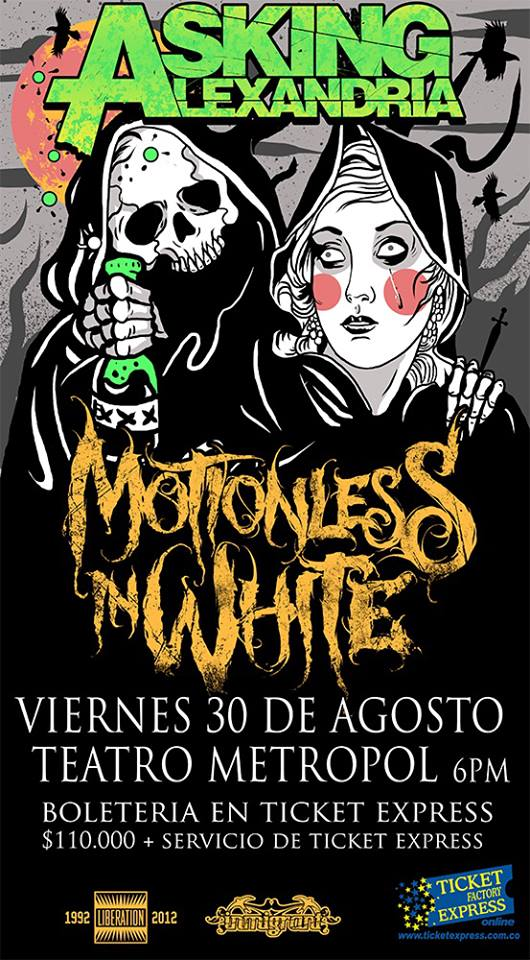 ASKING ALEXANDRIA MOTIONLESS IN WHITE colombia