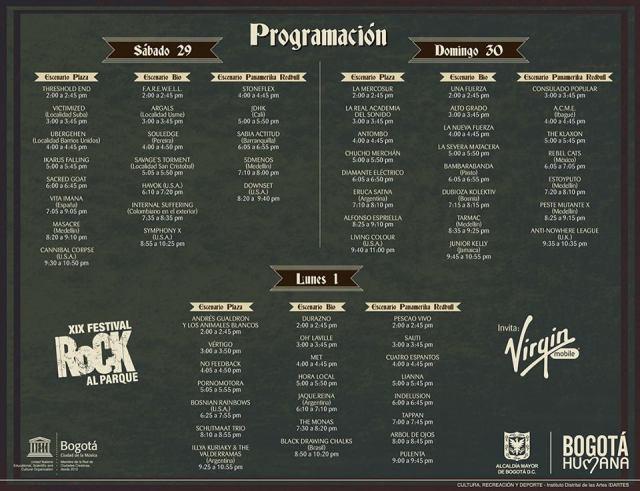horarios rock al parque 2013