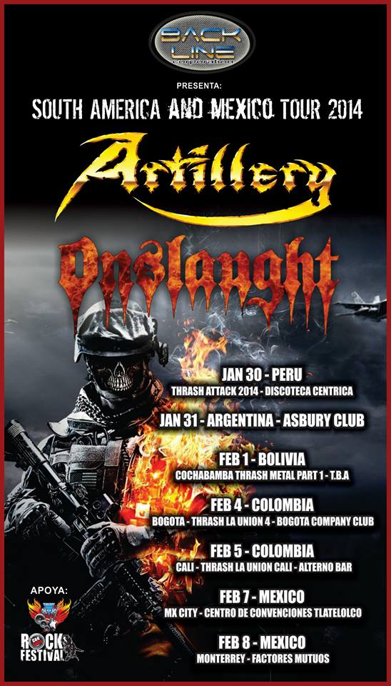 ARTILLERY  ONSLAUGHT sudamerica 2014