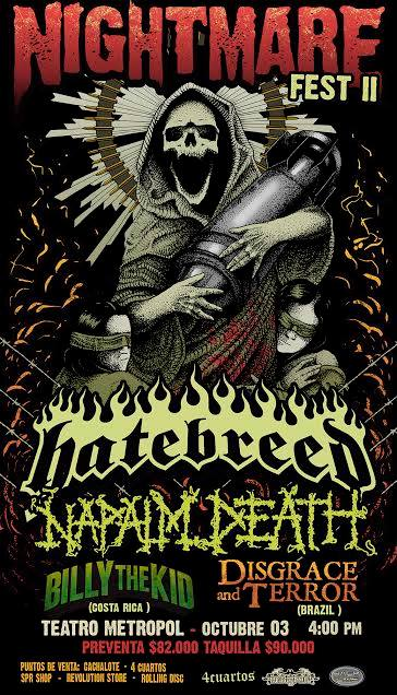 napalm death hatebreed colombia