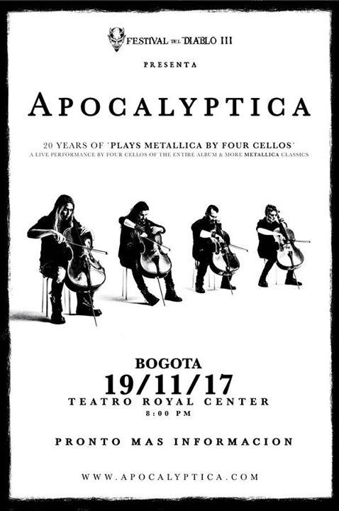 Resultado de imagen para apocalyptica concierto colombia 2017
