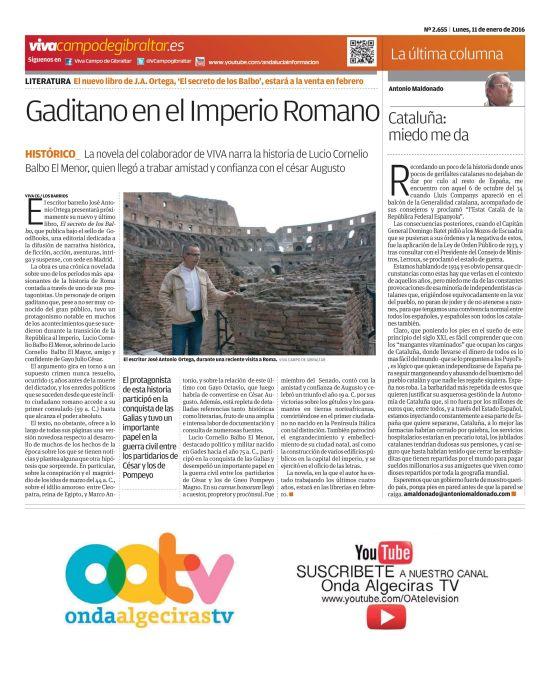 Página del Viva Campo de Gibraltar dedicada a la próxima publicación de El Secreto de los Balbo