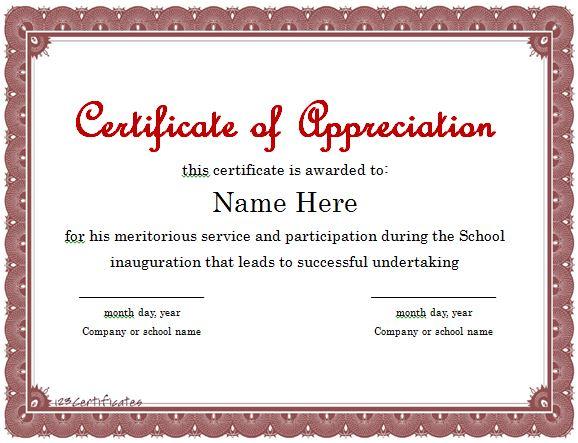 template for appreciation certificates & awards  10  Certificate Of Appreciation Template Free Download!!