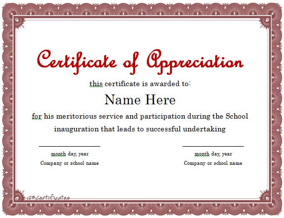 Certificate Of Appreciation Template  Employee Appreciation Certificate Template Free