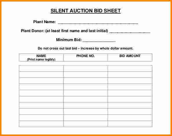 silent auction bid sheet template excel