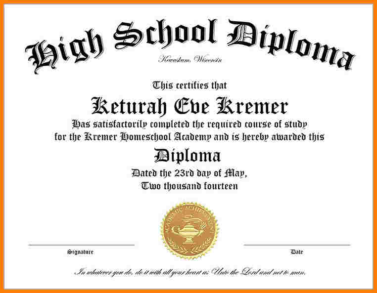 High School Diploma Templates  Diploma Word Template