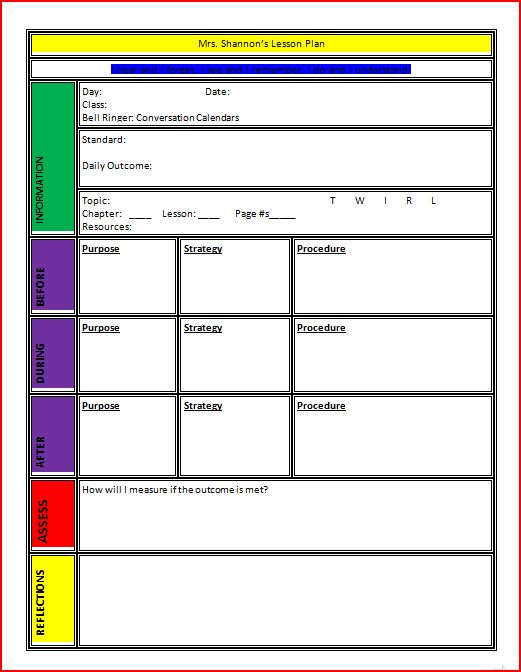 Good Lesson Plan Template Word Within Lesson Plan Templates Free