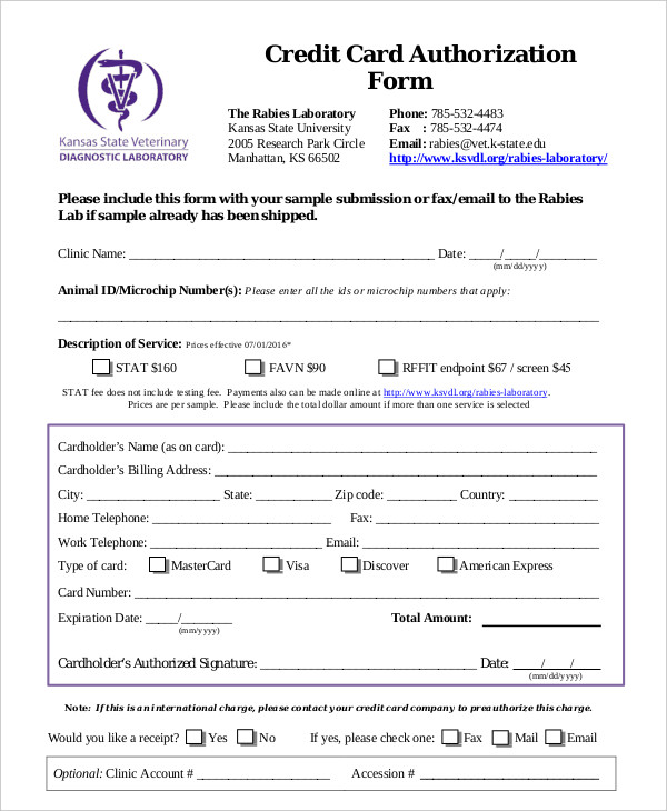10+ Credit Card Authorization Form Template Free Download!!