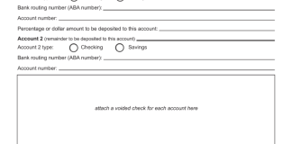 direct deposit request form template