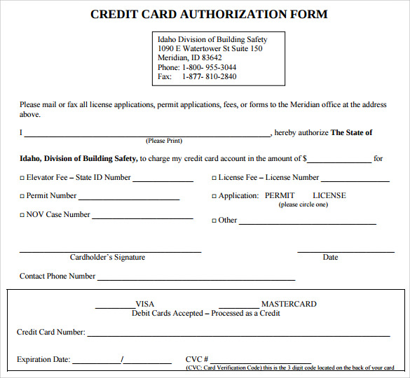 credit card authorization printables points that it must include