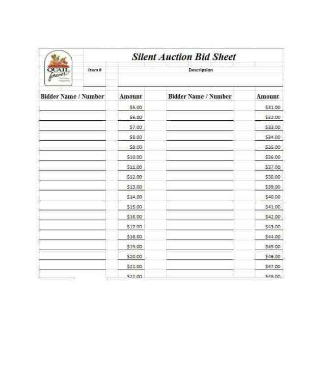 free Silent Auction Bidding Sheets