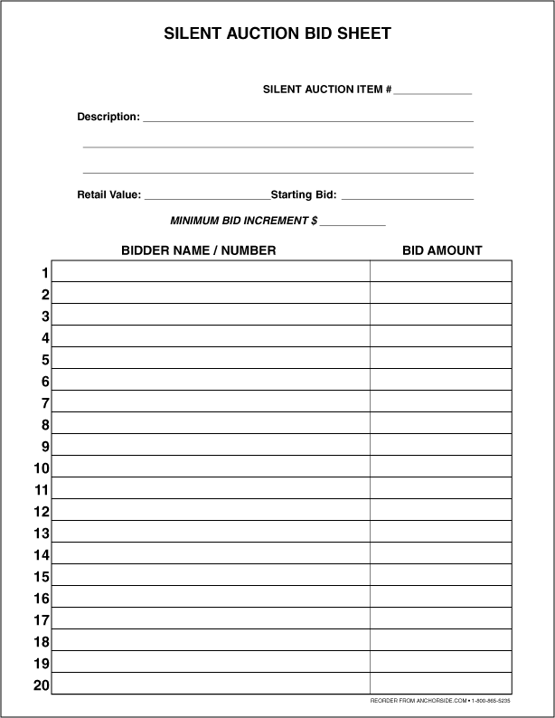free printable silent auction bid sheets juve cenitdelacabrera co