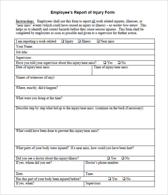 Incident Report Form  Free Download