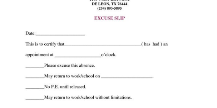 Doctors note for work absence free download elsevier for School absence note template free