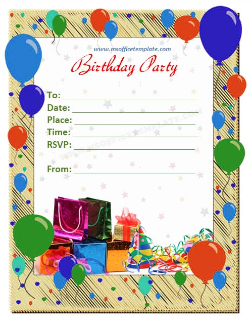 party invitation word template