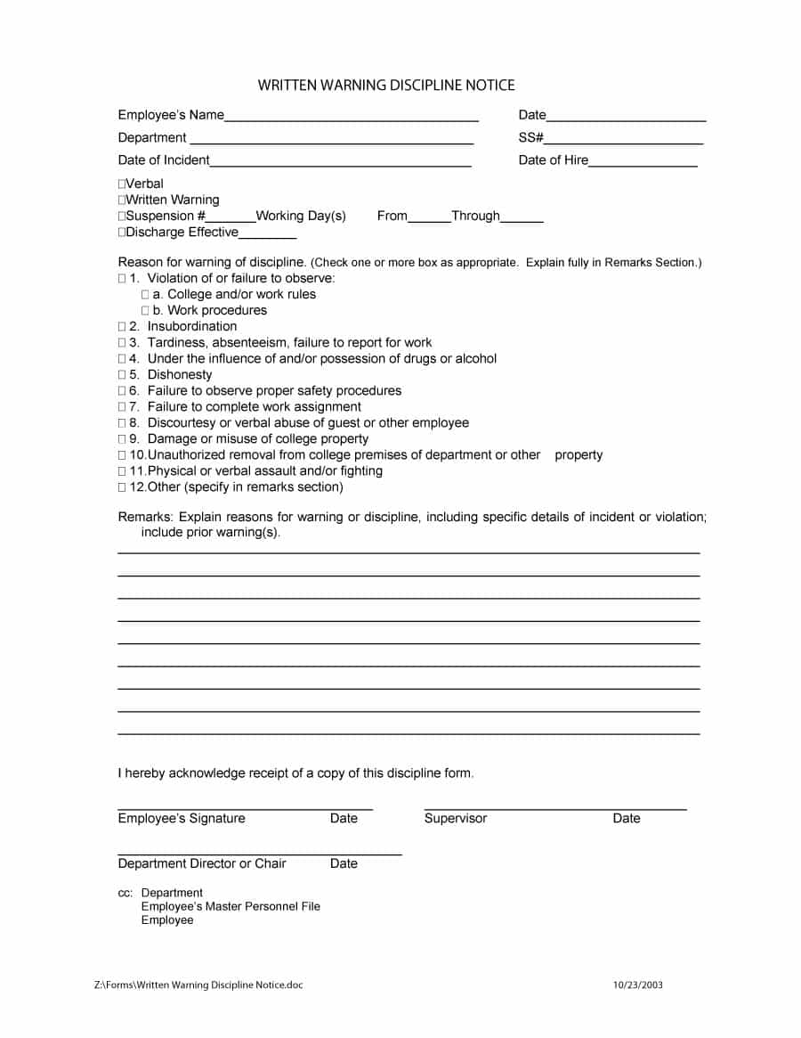 written verbal warning form