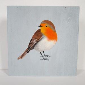 roodborstje, vogel op hout