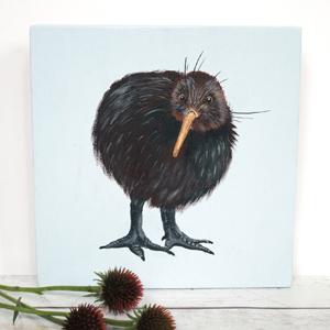 Kiwi, schildering op houtblok