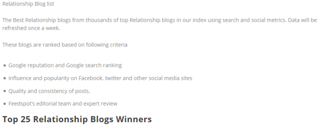 Top 25 Relationship Blogs and Websites on the web