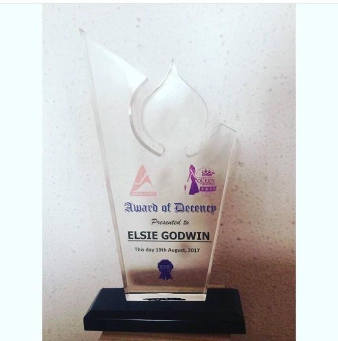 Award of decency presented to Elsie Godwin