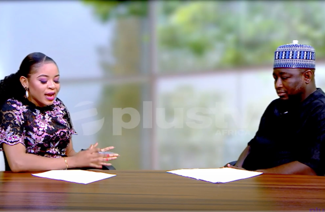 Elsie Godwin and Dayo Obatola on Plus TV Africa one on one set - elsieisy blog