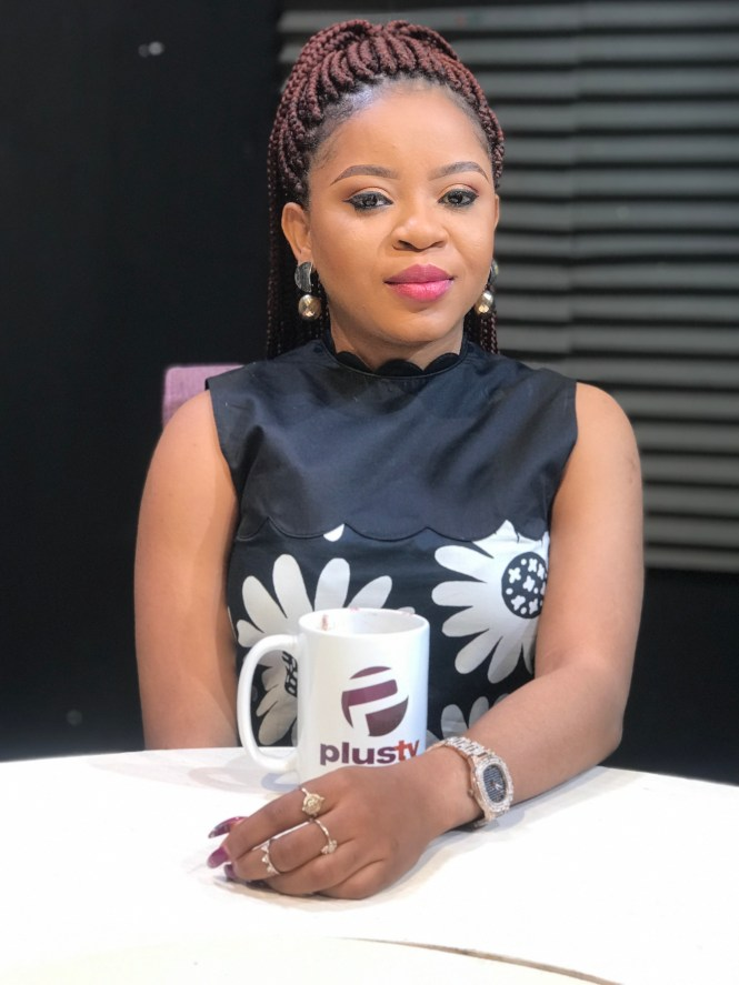 Elsie Godwin on the set of Tea Time on Plus TV Africa