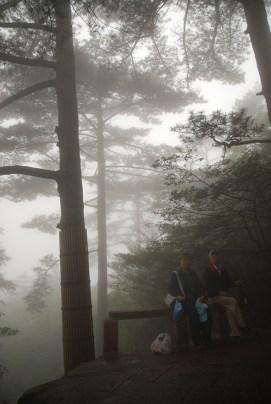 Huangshan Gele bergen echtpaar in de mist