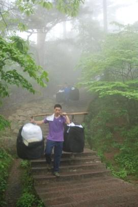 Huangshan Gele bergen porters