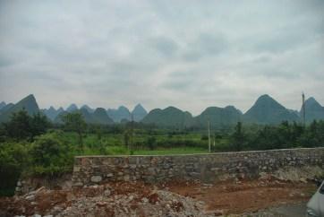 Bus van Yangshuo naar Guilin uitzicht