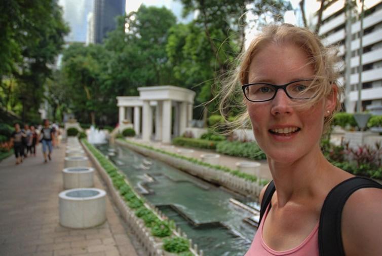 Hong Kong park fontein Els op Reis