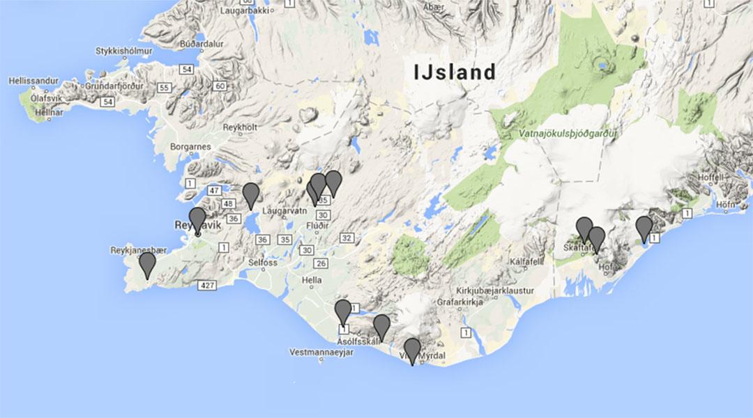 Kaart met hoogtepunten van IJsland als voorbereiding op winterreis door IJsland