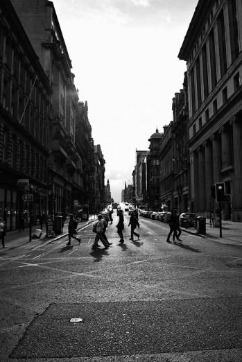 Glasgow straatbeeld in zwart wit