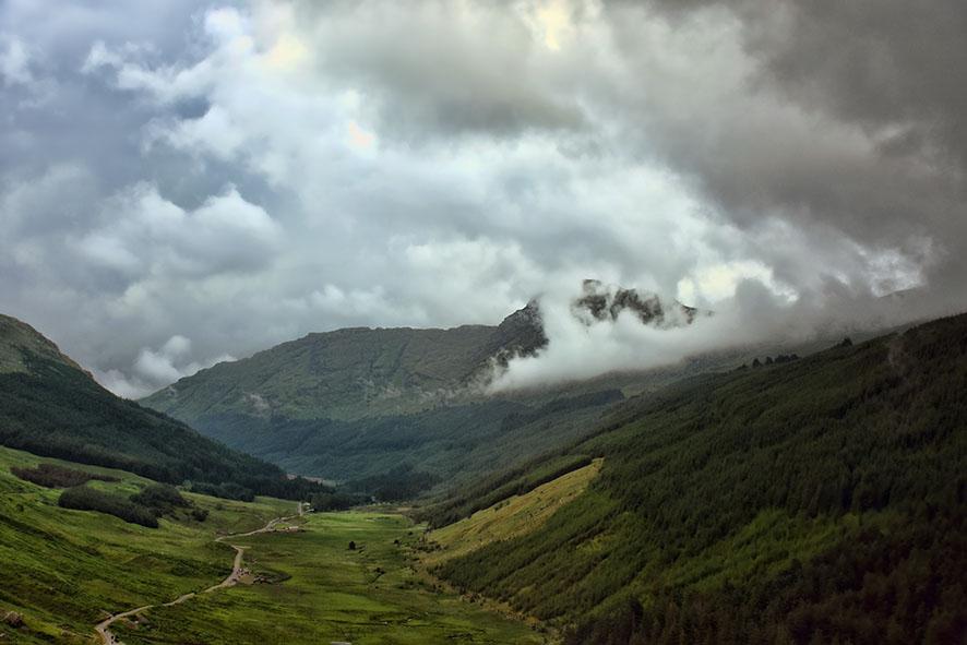 Schots landschap met wolken