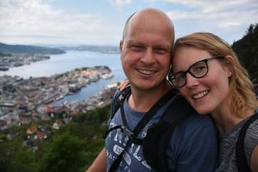 Selfie op het uitkijkpunt in Bergen