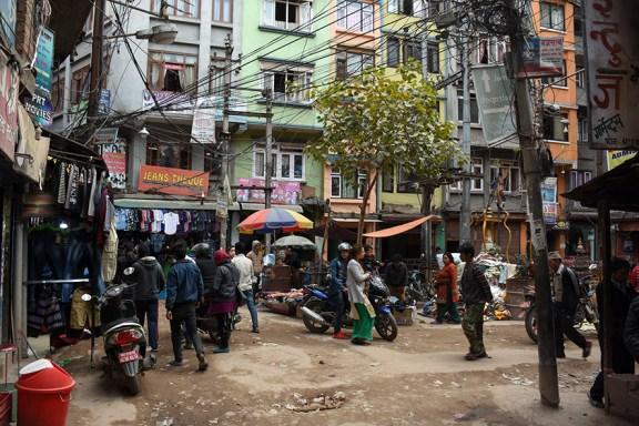 Straatbeeld Thamel Kathmandu