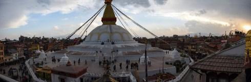 Panorama van de Boudhanath stupa Kathmandu Nepal