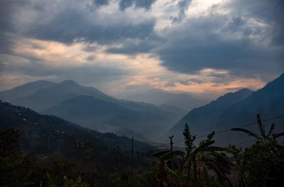 Zonsopkomst in Nepal Nuwakot Langtang