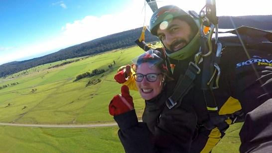 Bijna tijd om te landen na de skydive in Fox Glacier NZ