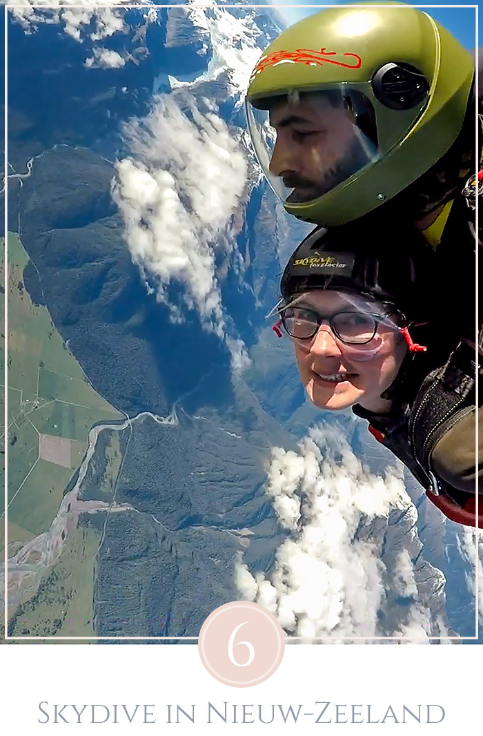 Tandem skydive vanaf grote hoogte met Mount Cook in de achtergond