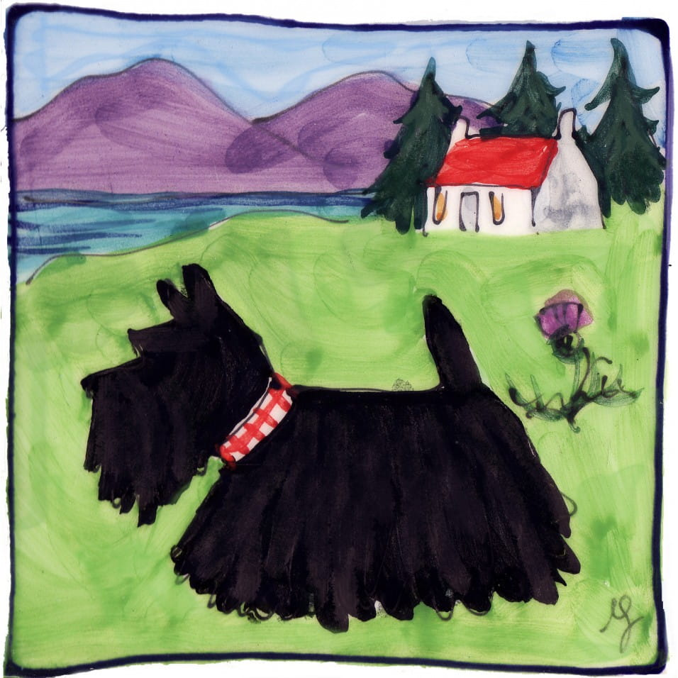 scottie dog and house square hand painted tile