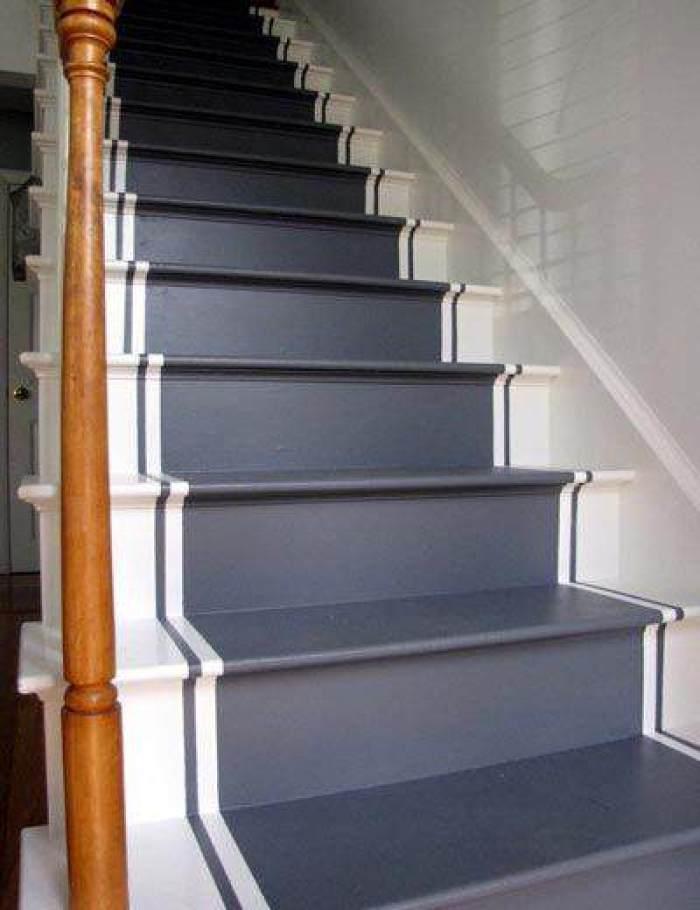 Como pintar la escalera el taller de lo antiguo for Contrahuella escalera