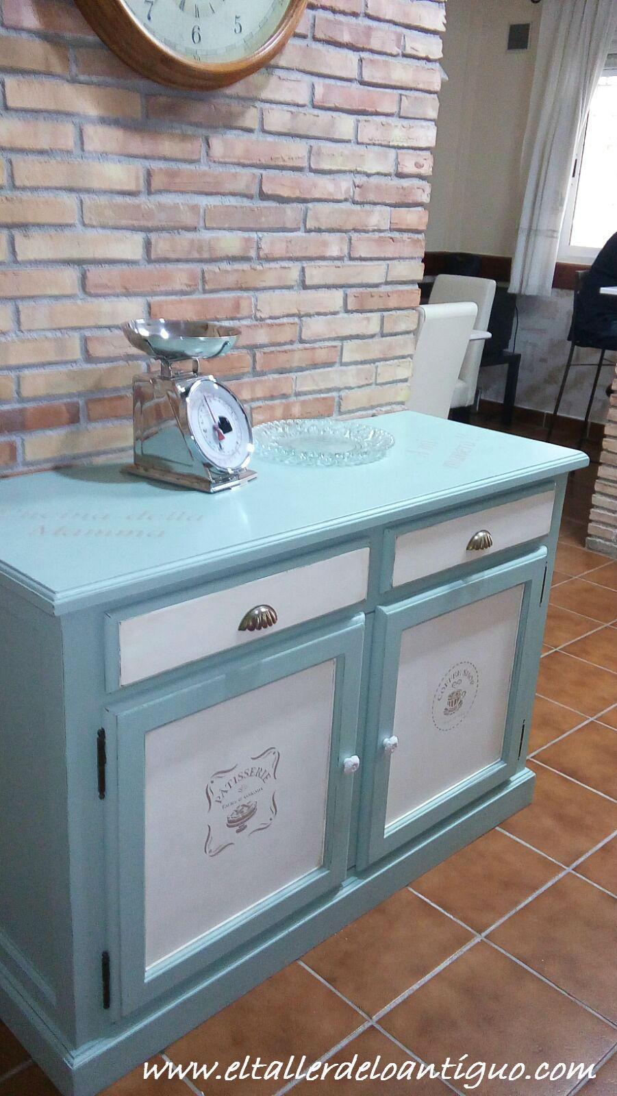 Pintar mueble de cocina el taller de lo antiguo for Pegatinas para decorar muebles