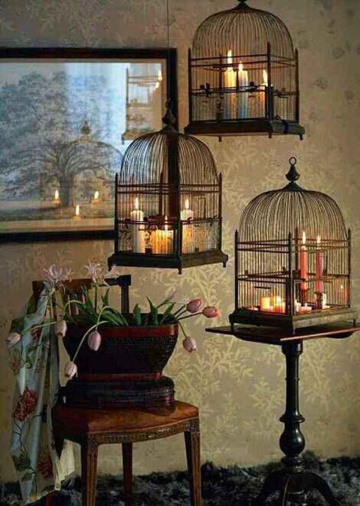 decora con velas y jaulas